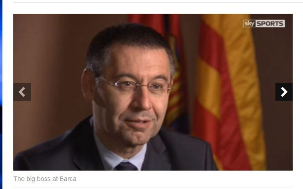 Josep Maria Bartomeu is interviewed by Sky Sports