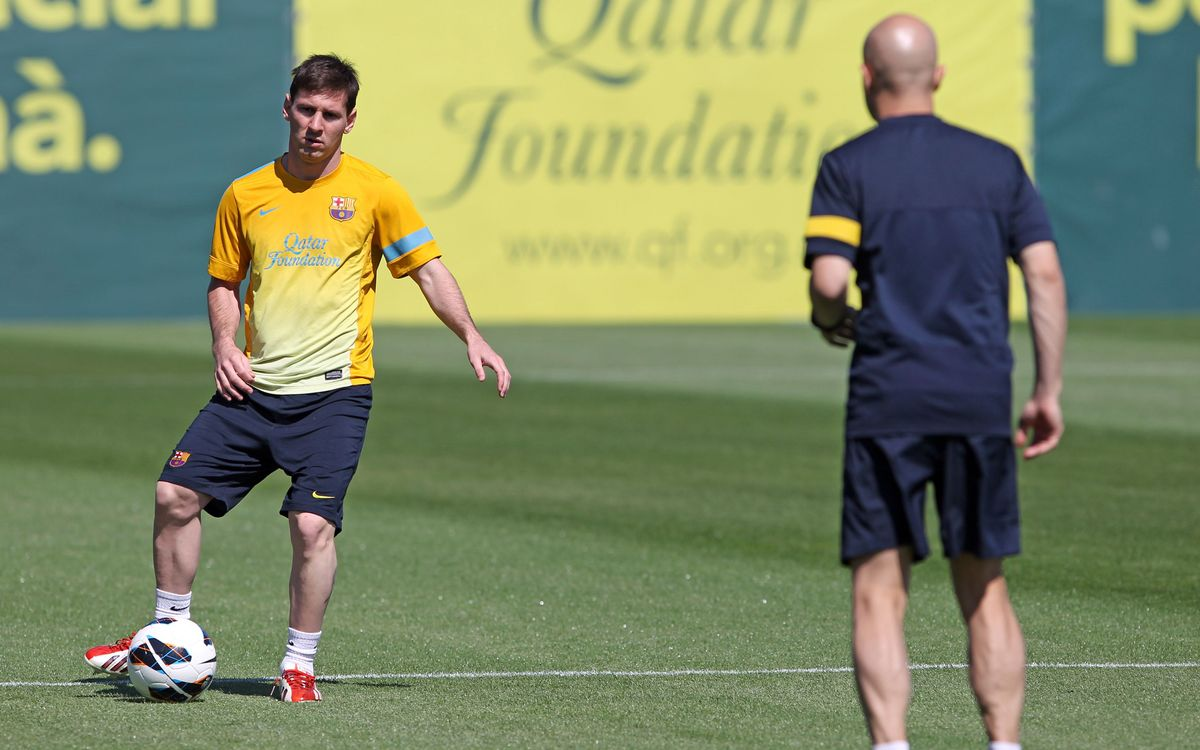 Messi starts fitness work on the field