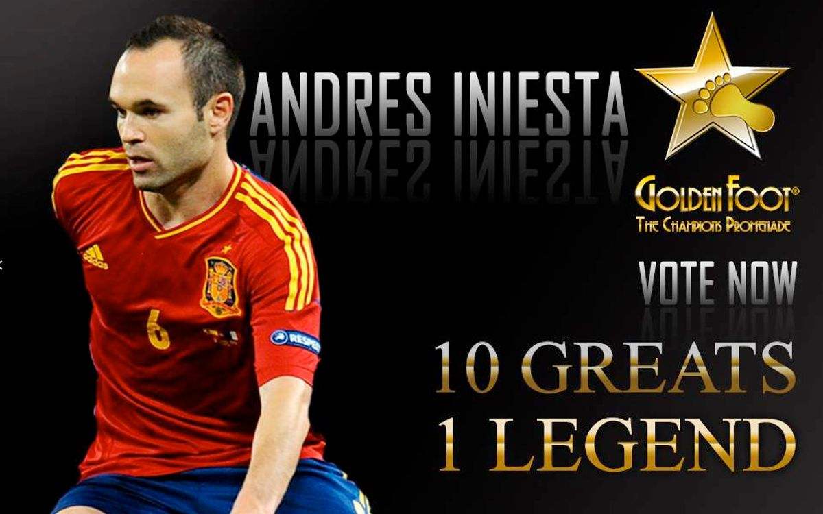 Iniesta on shortlist of ten for Golden Foot