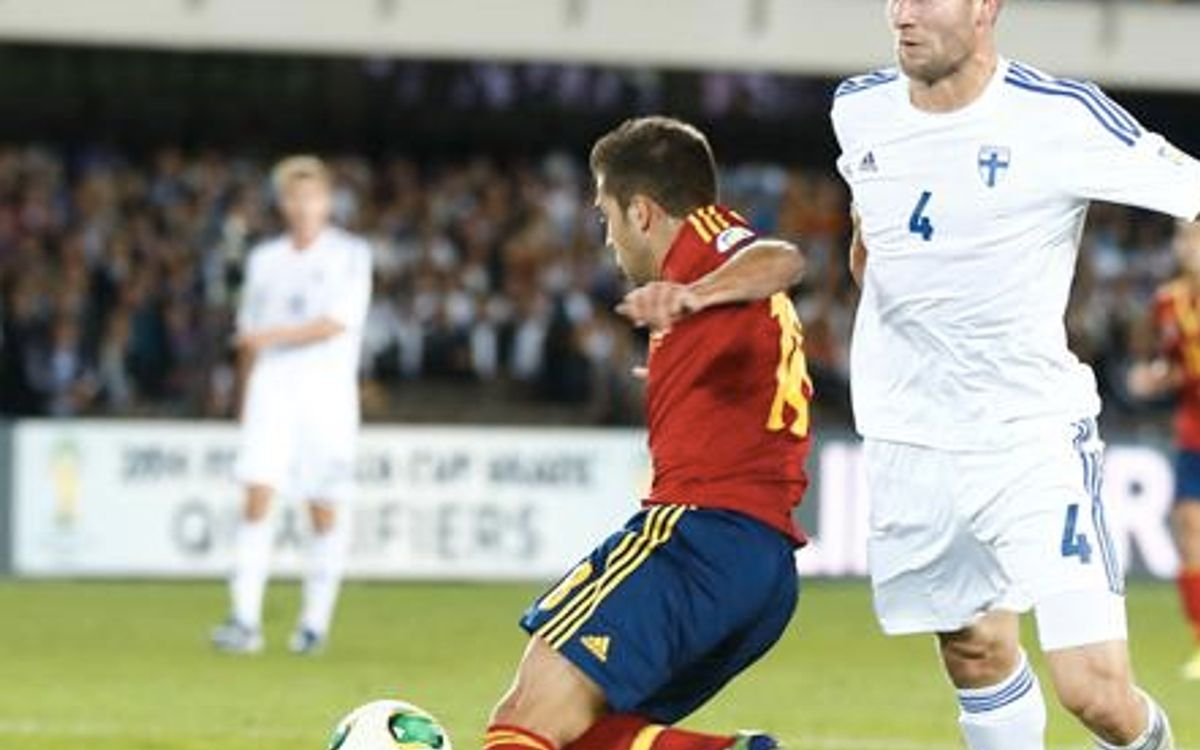 Jordi Alba scores in Spain's 0-2 victory over Finland