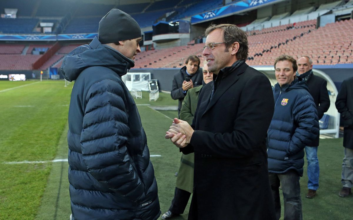 Tito Vilanova and Sandro Rosell meet that Parc des Princes