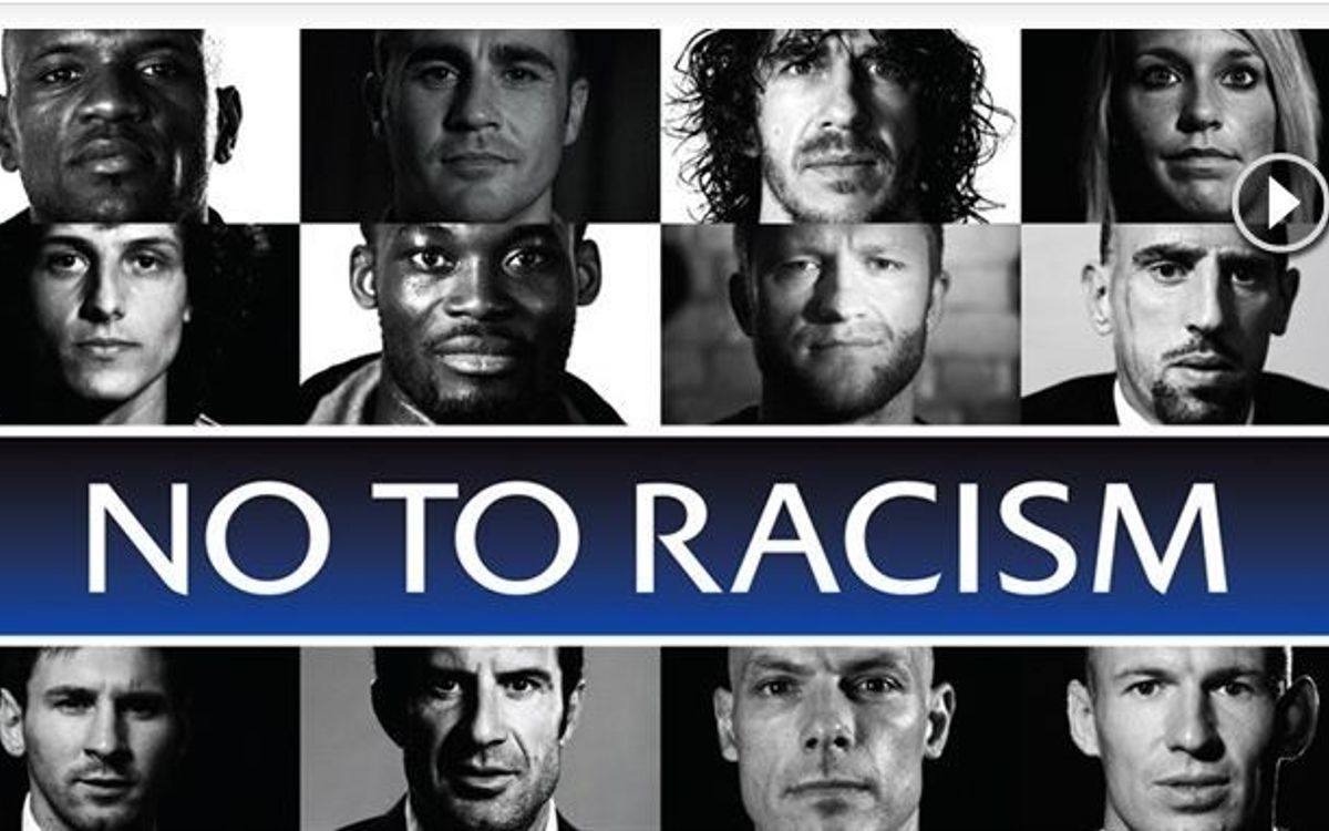 Messi and Puyol in UEFA 'No to Racism' campaign