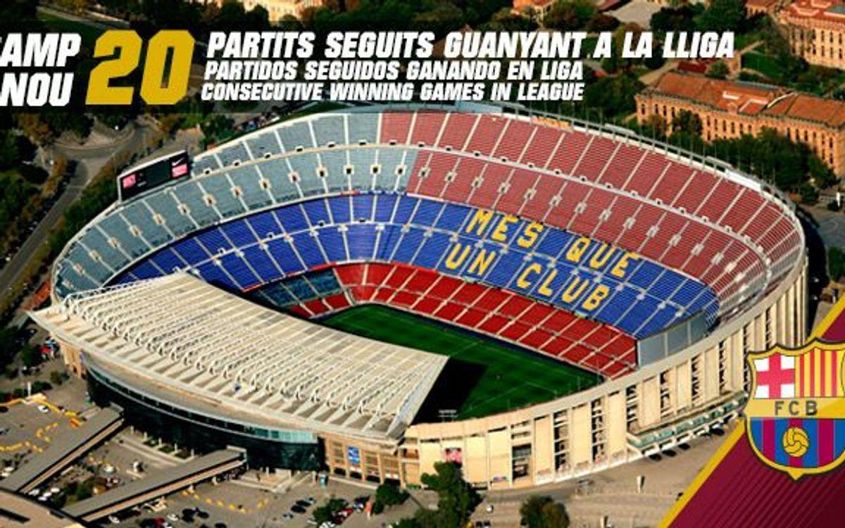 El FC Barcelona encadena 20 victòries consecutives de Lliga al Camp Nou