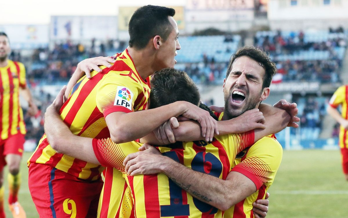 Getafe CF - FC Barcelona: Pedro and Cesc lead leaders' fightback(2-5)