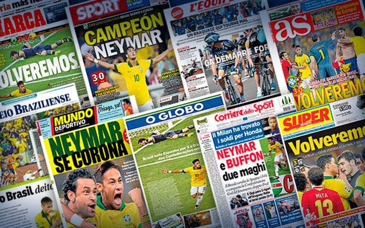 Worldwide press react to Neymar's performance against Spain in the Confederations Cup