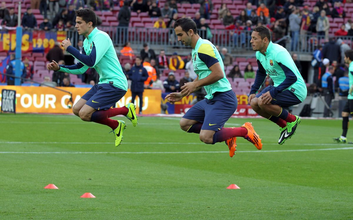 FC Barcelona warm up before Cartagena clash
