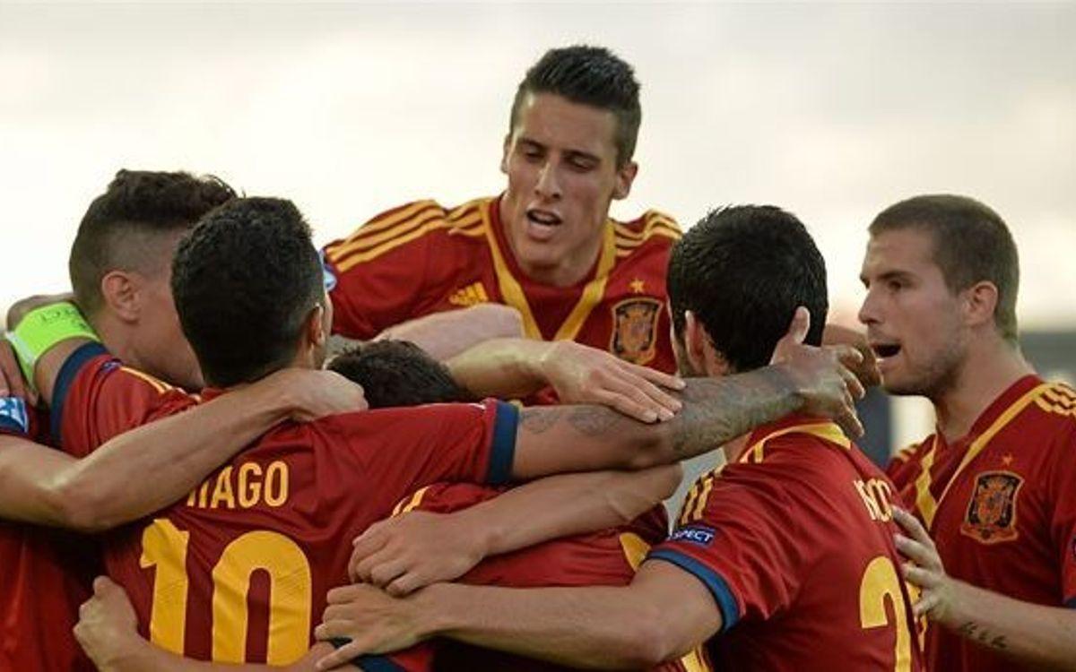 Five FC Barcelona players make it to the U21 European final (3-0)