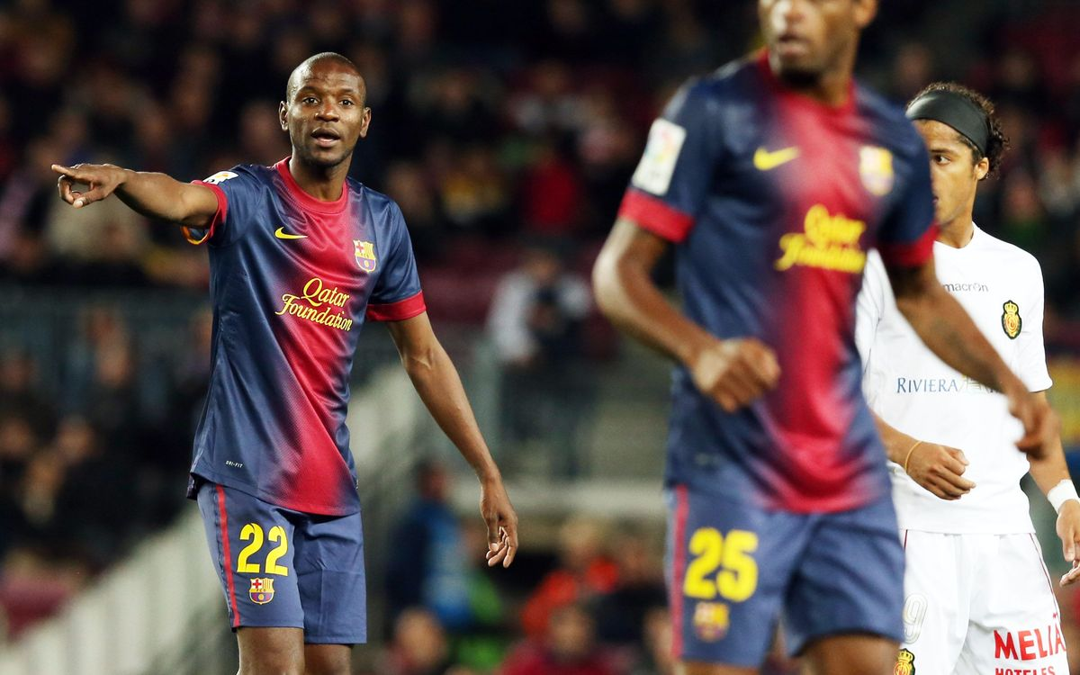 Éric Abidal makes his return to competitive play for FC Barcelona after recovering from liver transplant surgery