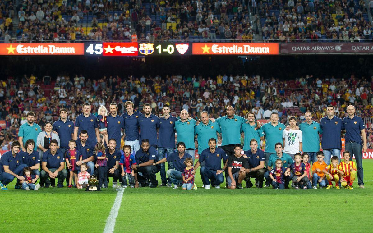 El Camp Nou felicita els campions de la Superglobe i la Supercopa Asobal