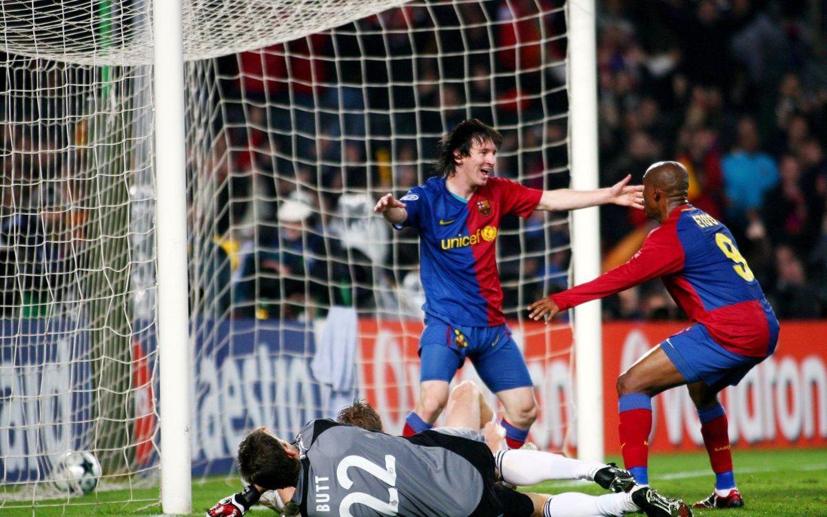 Eto'o y Leo Messi celebrando un gol contra el Bayern / FOTO: MIGUEL RUIZ - FCB
