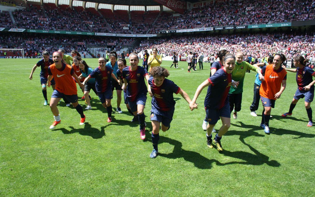 FCB Women's team celebrate the league title