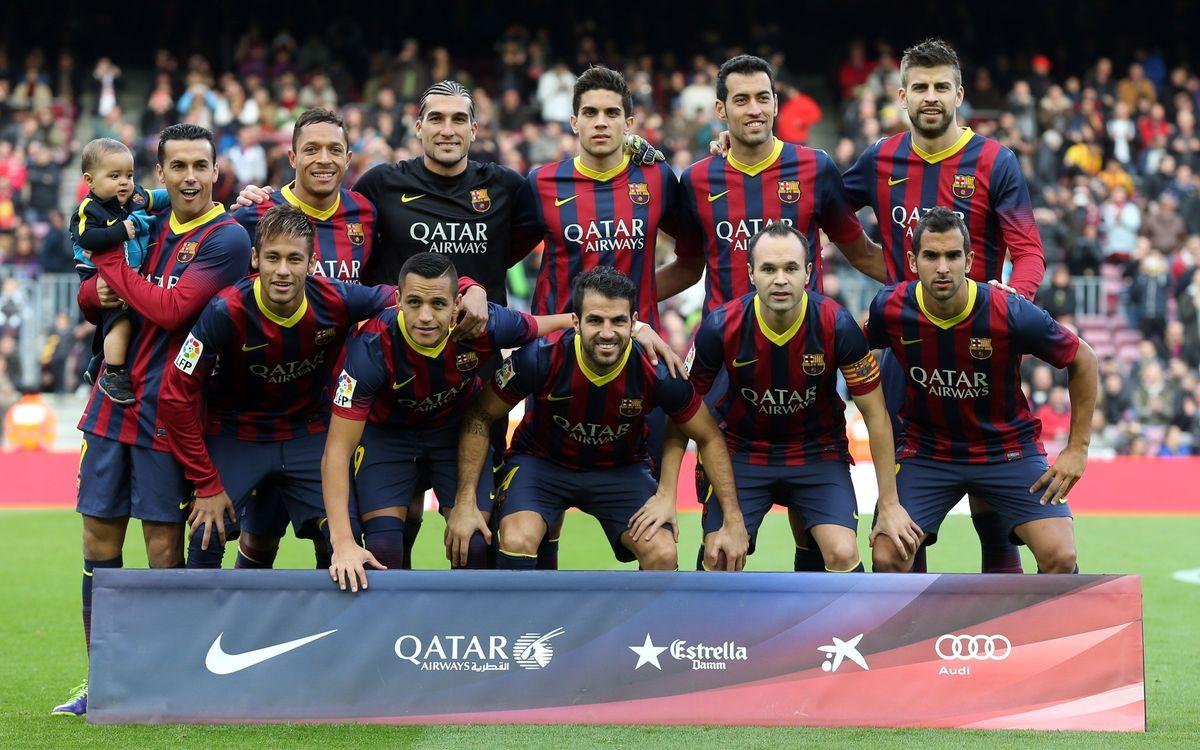 L'escalfament del Barça abans del partit contra el Granada