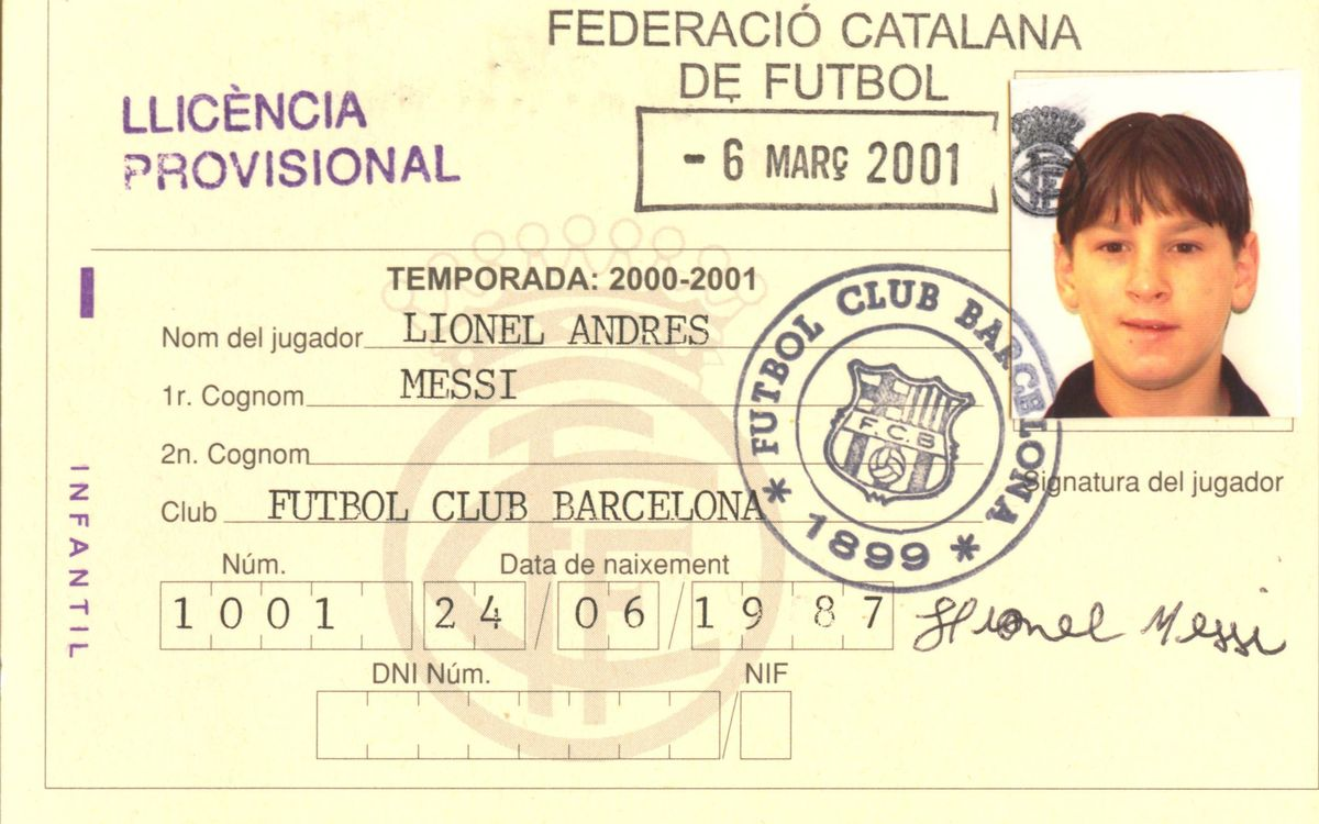 Messi played his first game with the boys' team on 7th March 2001