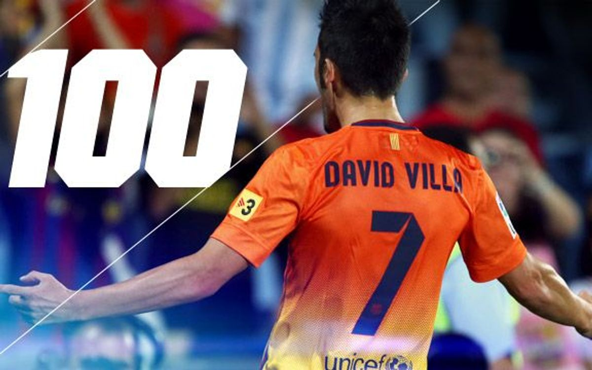 David Villa features in his 100th match for Barça