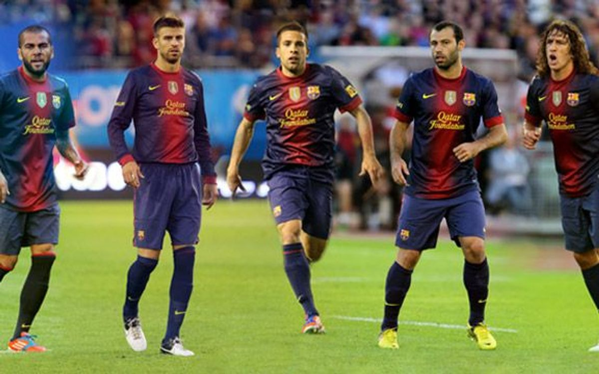 Twenty defenders pre-selected for the FIFA FIFPro 2012 team: Alba, Alves, Mascherano, Piqué and Puyol