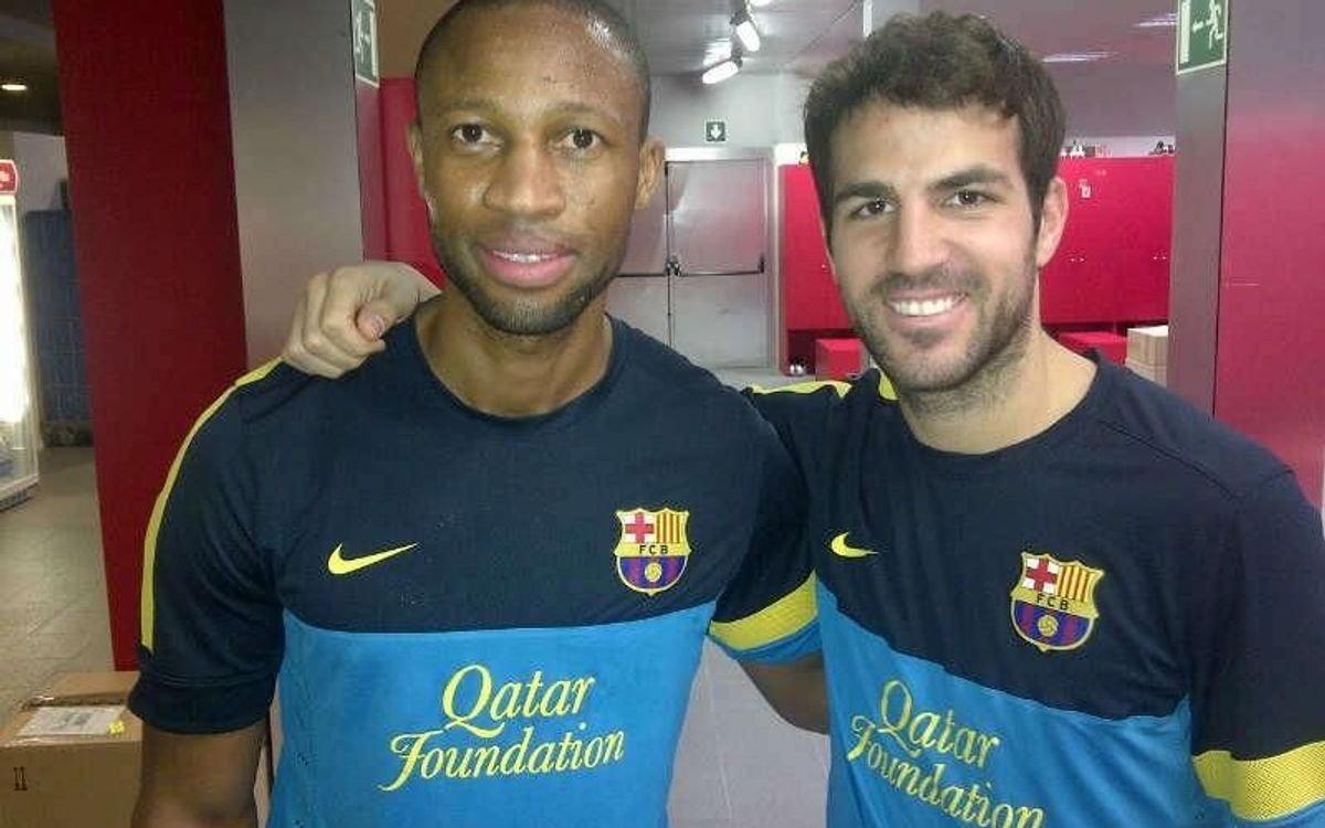 Seydou Keita trains in Barcelona