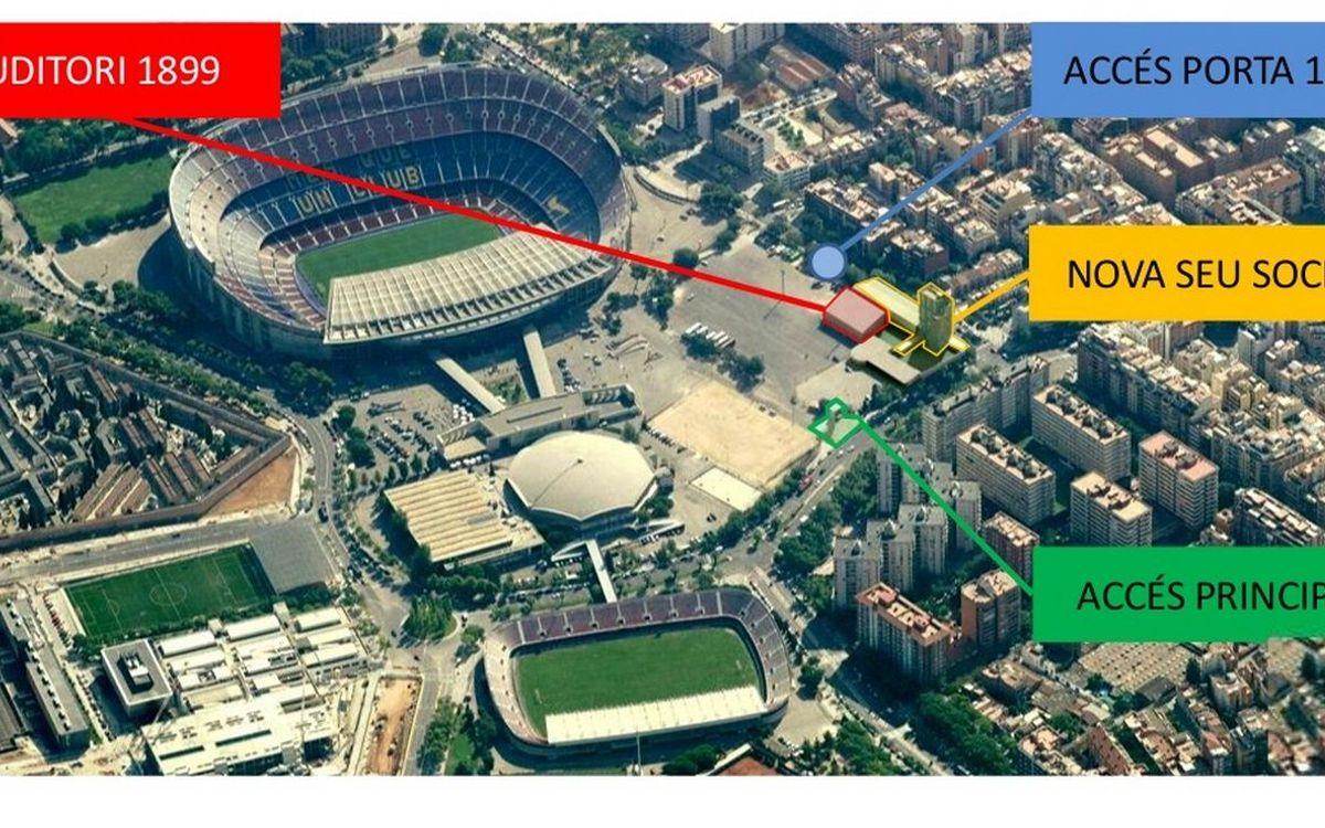 Nou accés a la Seu Social per a socis i penyistes, en dies de partit al Camp Nou