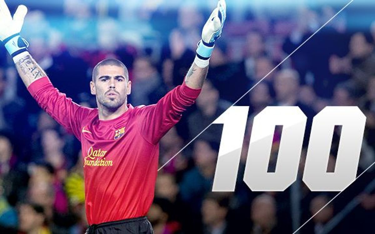 Víctor Valdés reaches 100 appearances in Champions