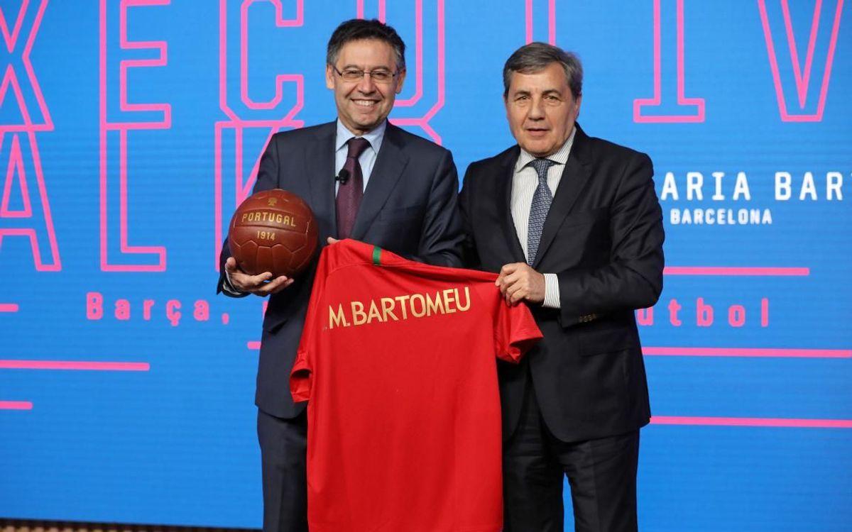 Bartomeu dona una conferència sobre el model Barça a la seu de la Federació Portuguesa de Futbol