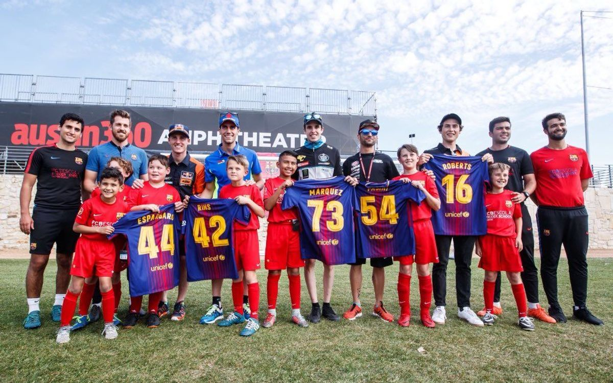MotoGP riders become pupils for a day at the FCBEscola Austin