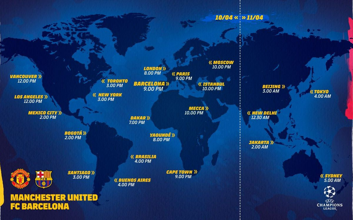 Horarios Manchester United - FC Barcelona