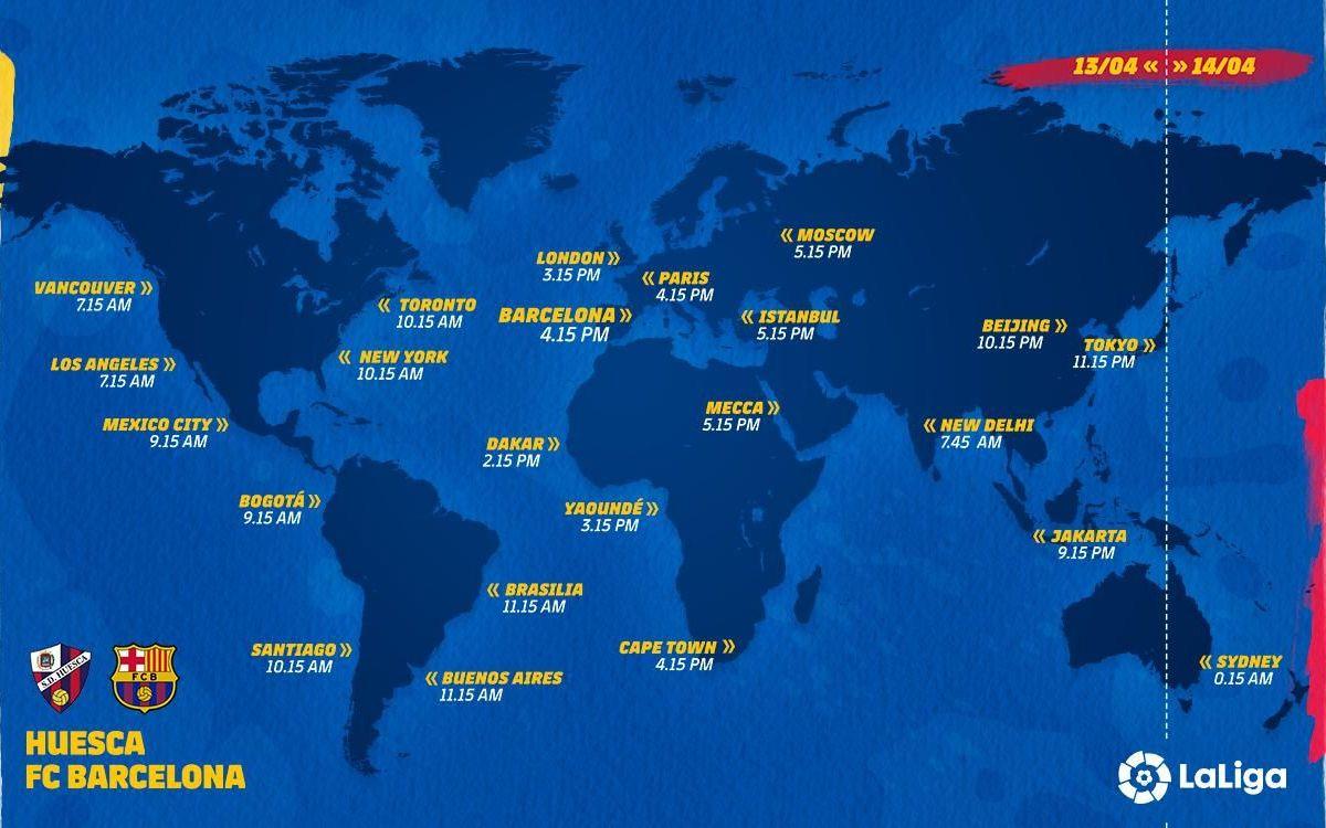 Mapa horarios Huesca-Barça