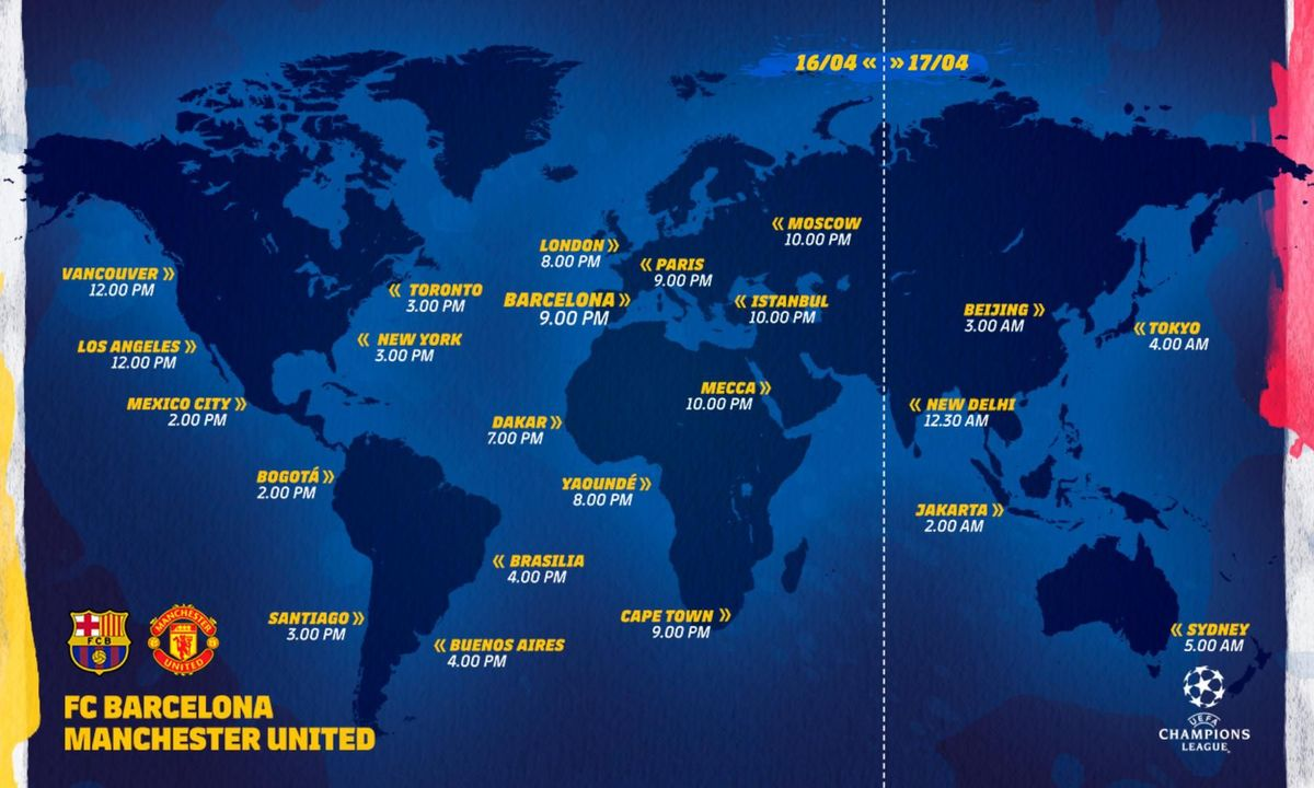 When and where FC Barcelona - Manchester United