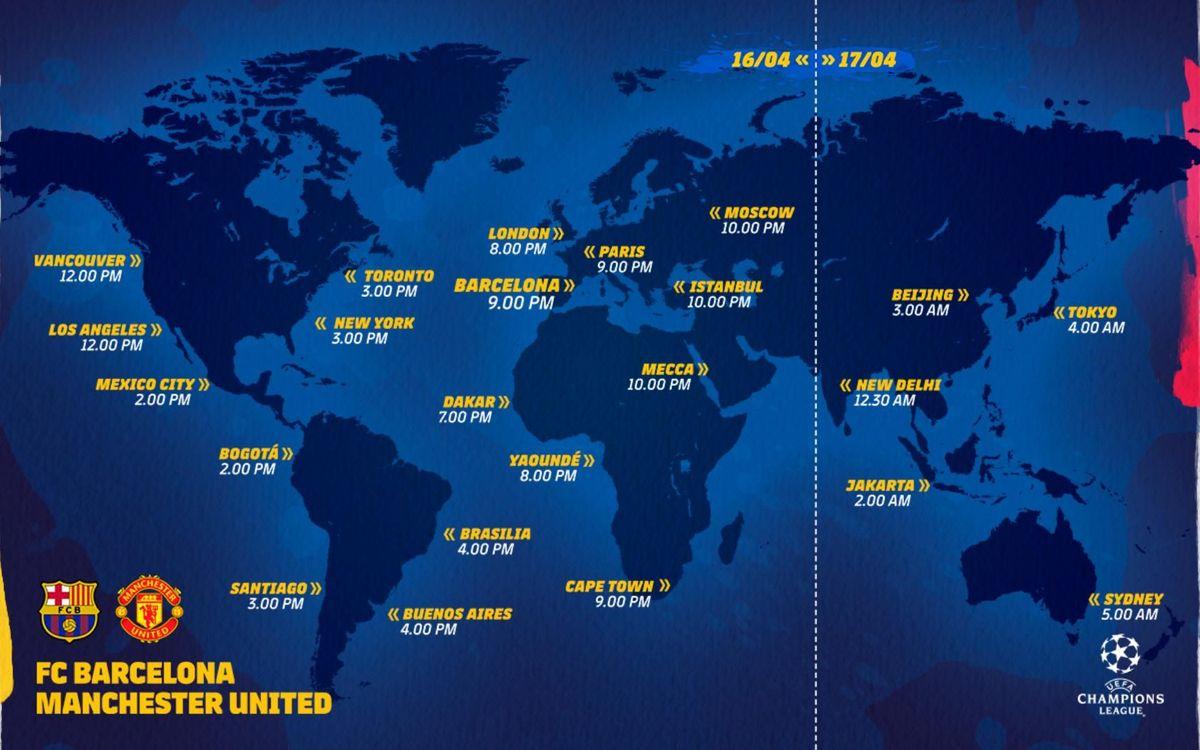 Horarios internacionales FC Barcelona - Manchester United