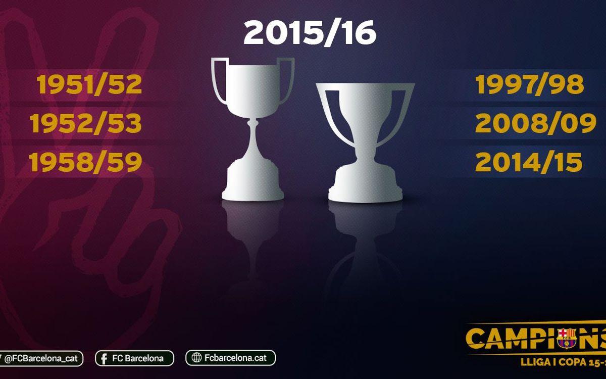 Setena temporada de la història en què s'aconsegueix un doblet de Lliga i Copa