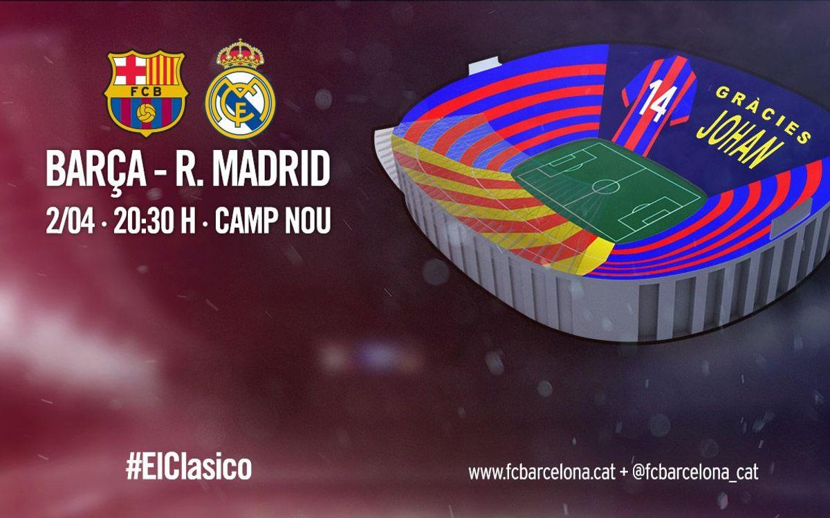 'Gràcies Johan', el missatge del mosaic del FC Barcelona – Reial Madrid