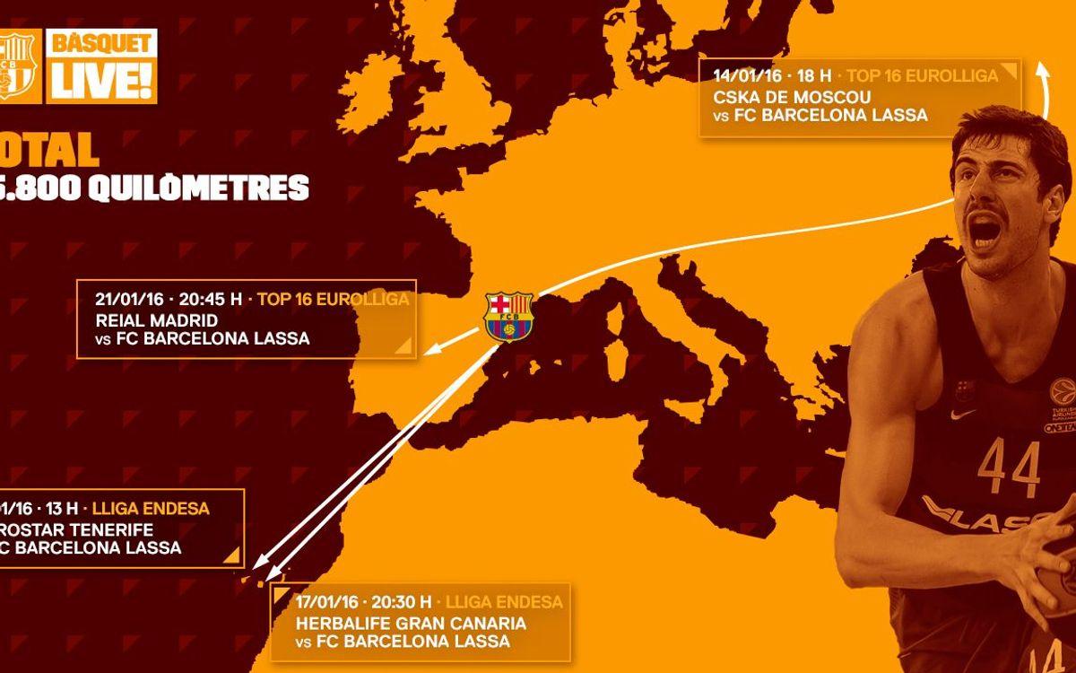 15.846 quilòmetres en els quatre propers desplaçaments abans de tornar al Palau