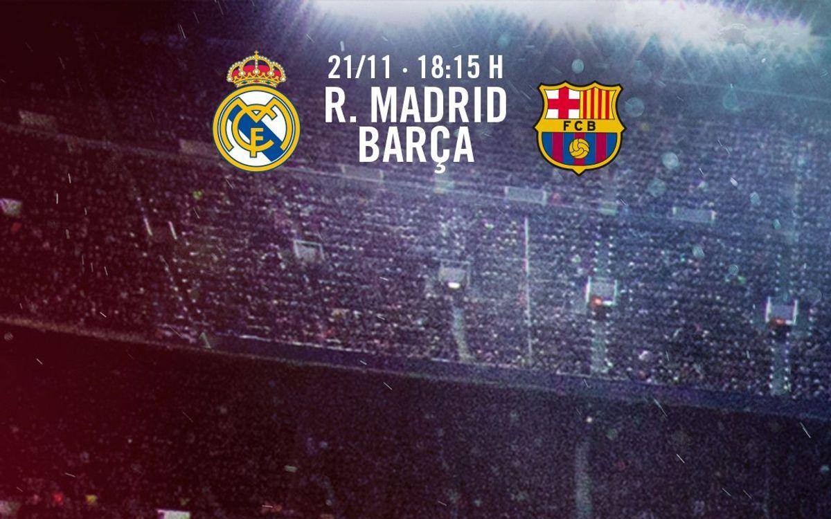 La sol·licitud d'entrades per al Reial Madrid - FC Barcelona, a partir del dimarts 3 de novembre