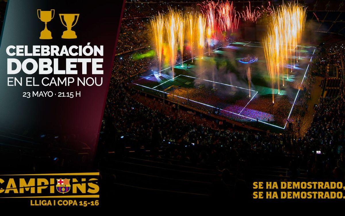 Este lunes, ¡ven a la celebración del doblete en el Camp Nou!