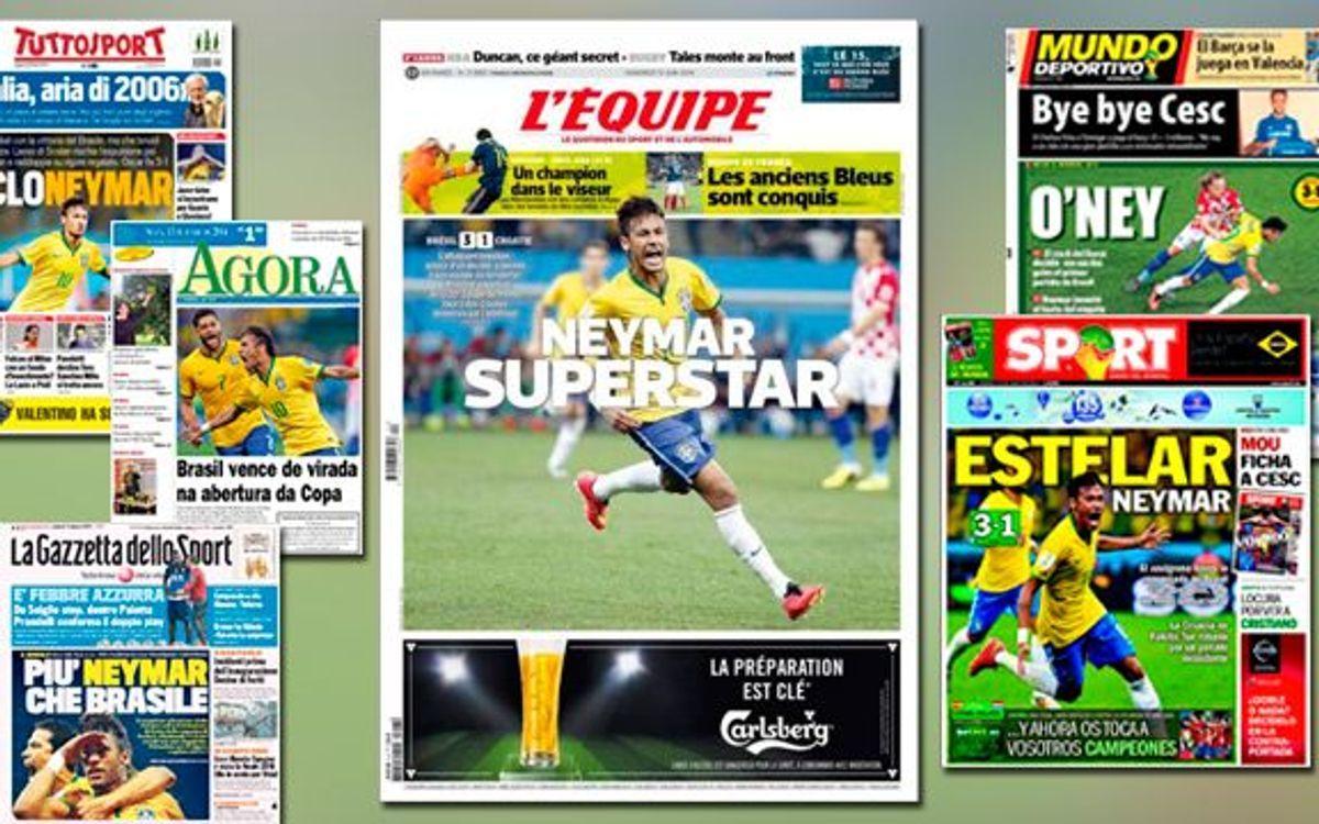 Neymar, primer protagonista del Mundial a les portades de la premsa internacional