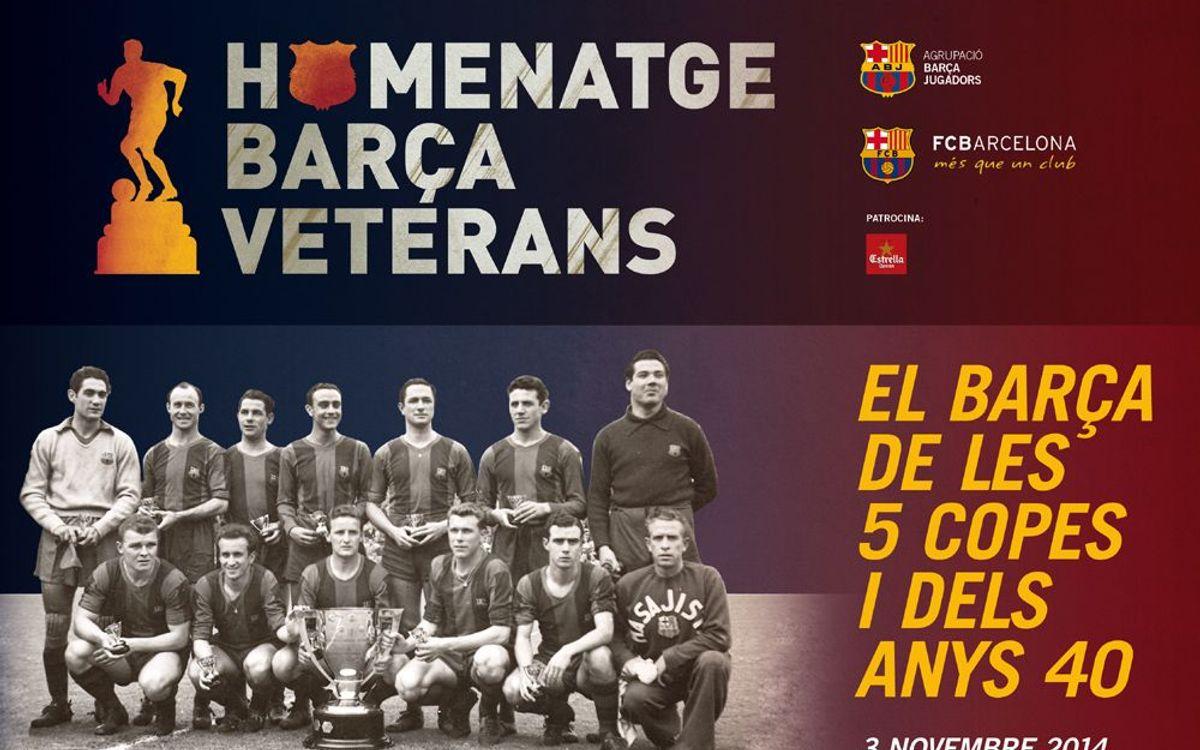 El FC Barcelona i l'Agrupació homenatgen els exjugadors de les Cinc Copes i dels Anys 40