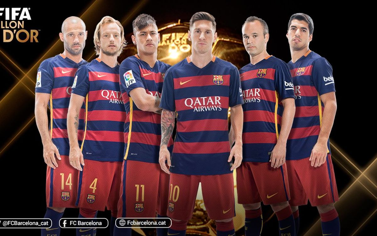 Messi, Neymar, Luis Suárez, Iniesta, Rakitic i Mascherano, candidats a la Pilota d'Or