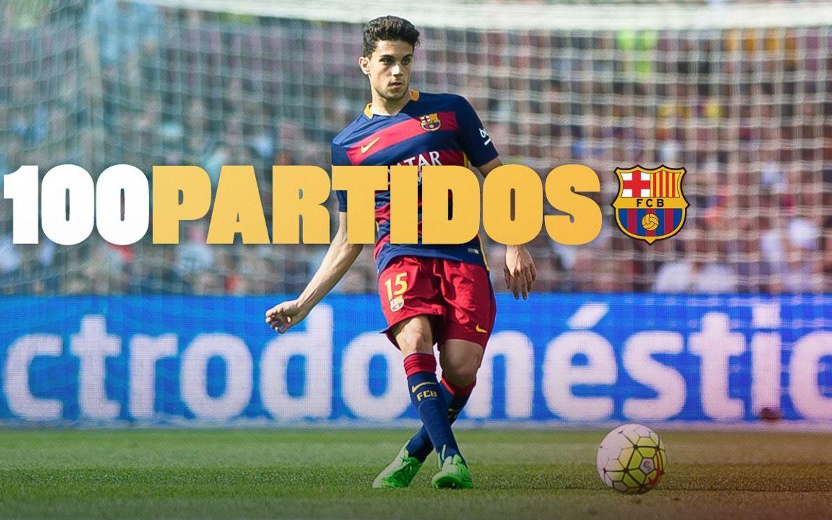 Marc Bartra cumple 100 partidos oficiales con el FC Barcelona