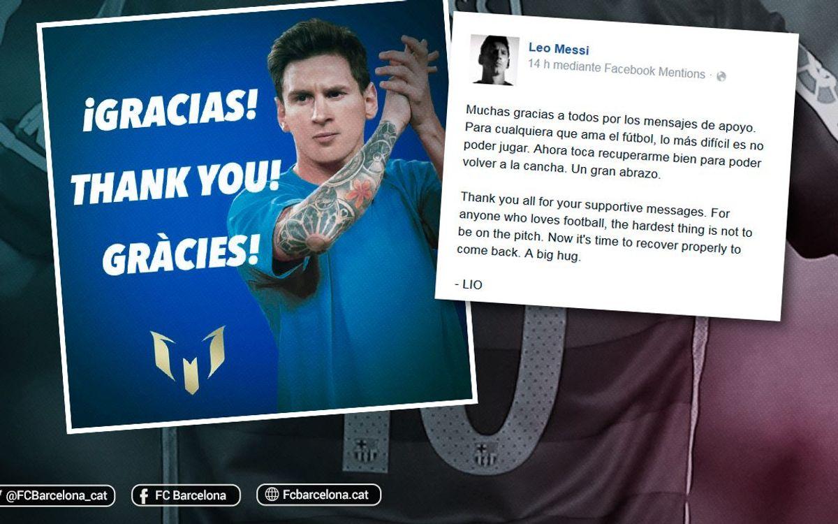 Leo Messi agraeix les mostres de suport de l'afició