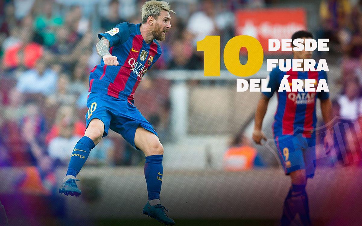 Los mejores goles desde fuera del área de Leo Messi