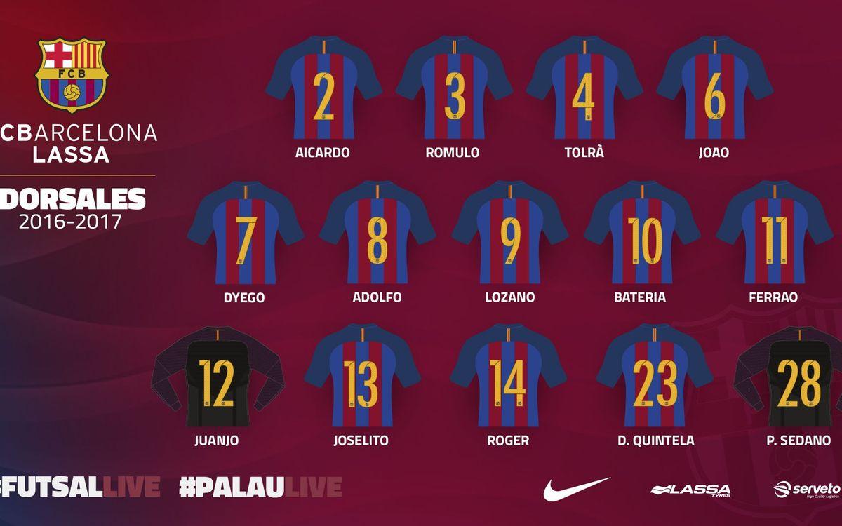 Los dorsales del Barça Lassa 2016/17
