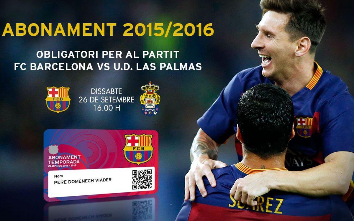 El nou abonament de la temporada 2015/16 serà imprescindible per al partit contra el Las Palmas