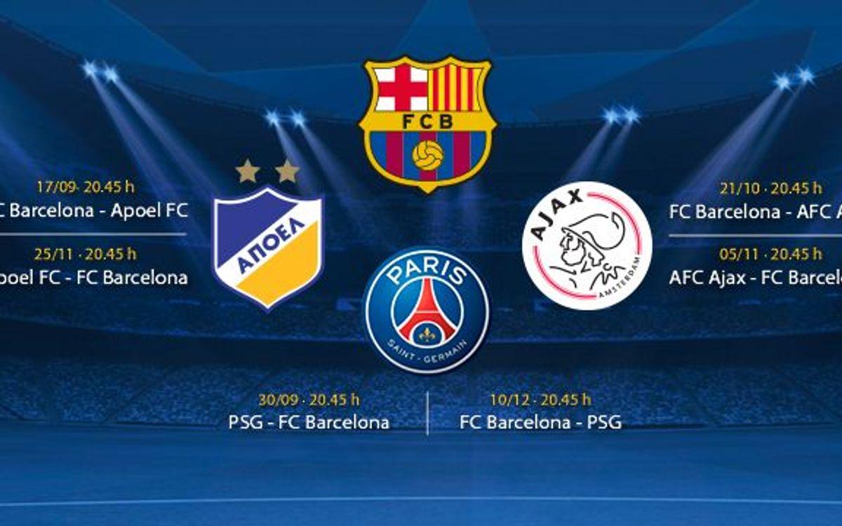 PSG, Ajax y APOEL, rivales del FC Barcelona en la Liga de Campeones 2014/15
