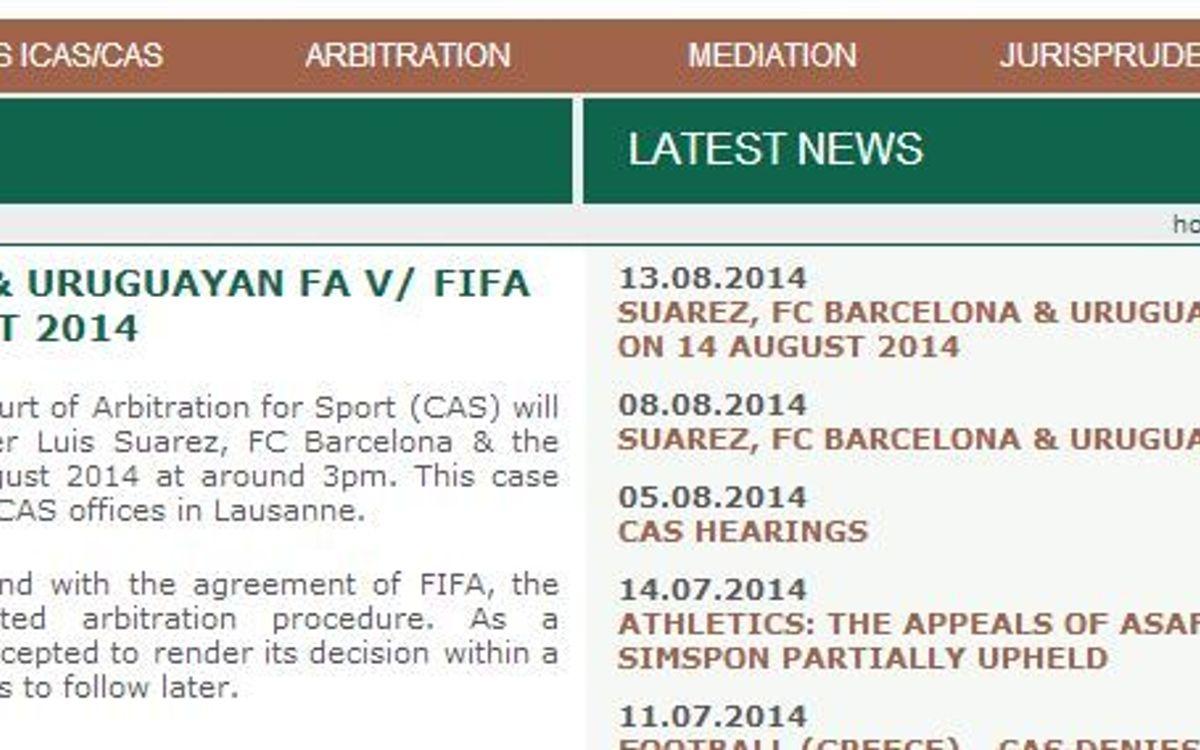 La resolució del TAS sobre el cas Luis Suárez, aquest dijous a les 15 hores