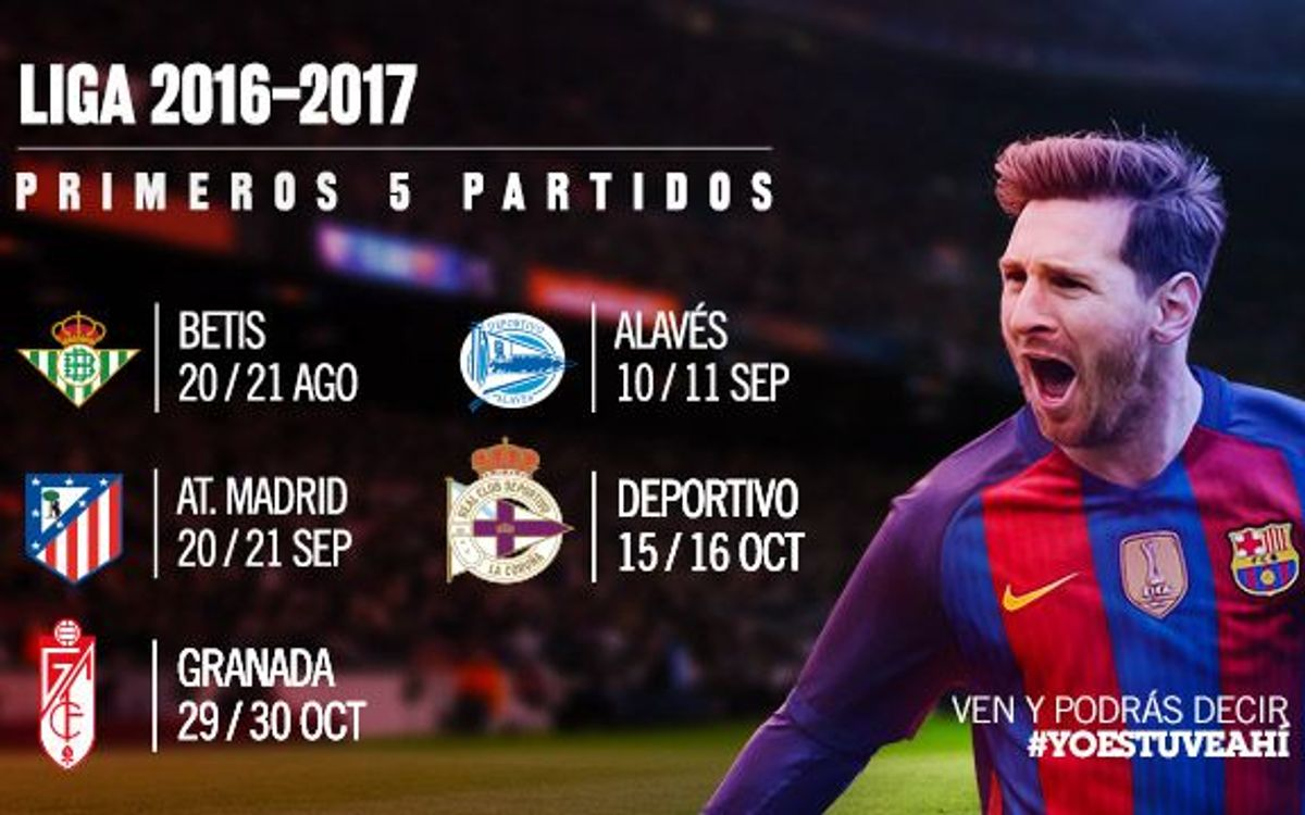 A la venta las entradas para los cinco primeros partidos de Liga en el Camp Nou