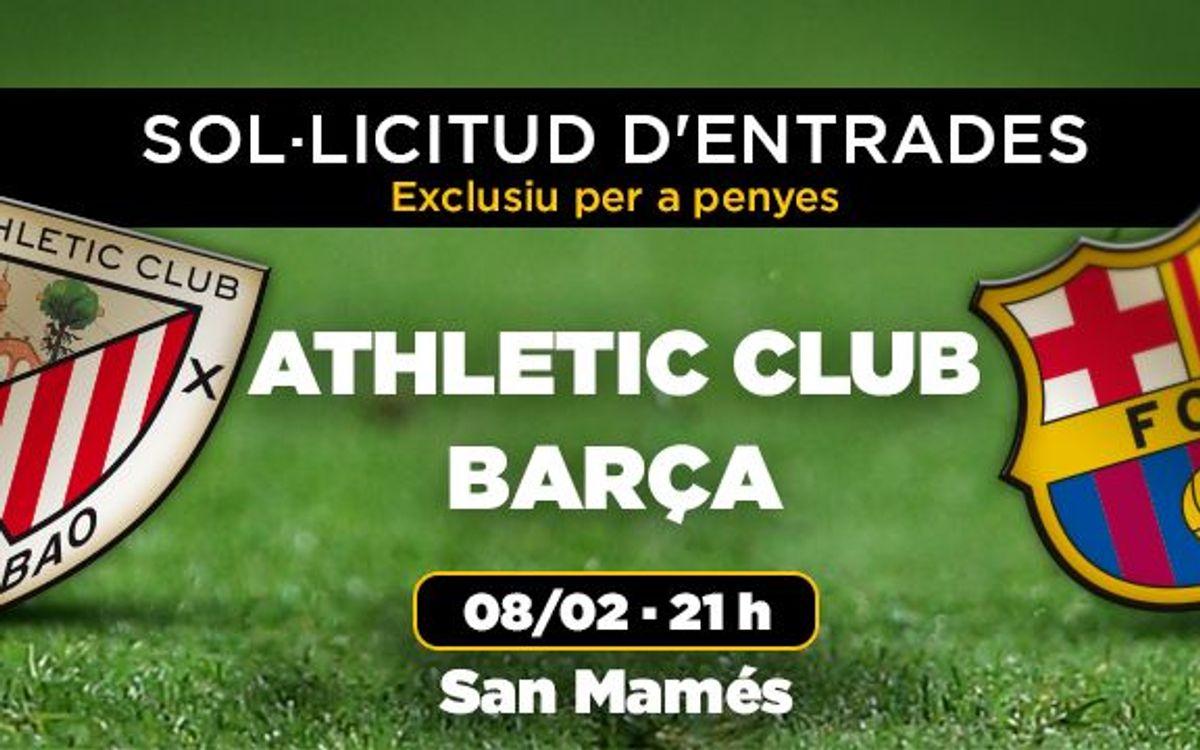 Athletic Club – FC Barcelona, petició d'entrades a partir del 26 de gener