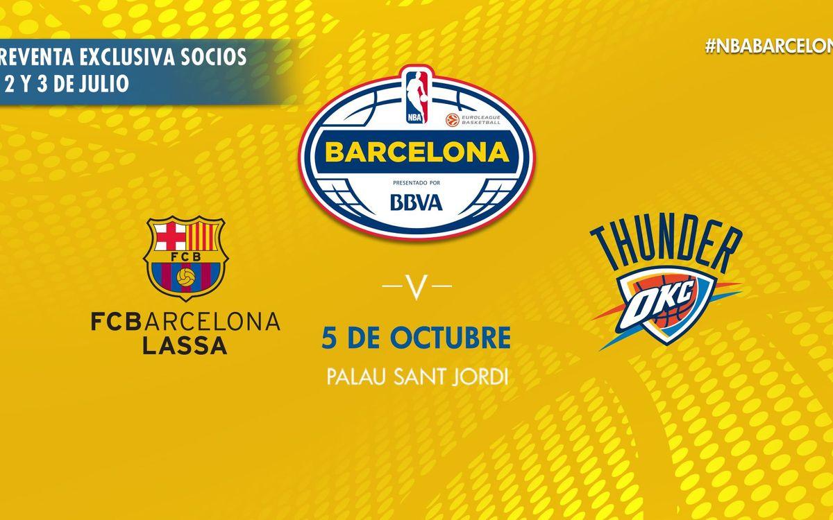 Preventa de entradas exclusiva para socios para el partido Barça Lassa - Oklahoma City Thunder
