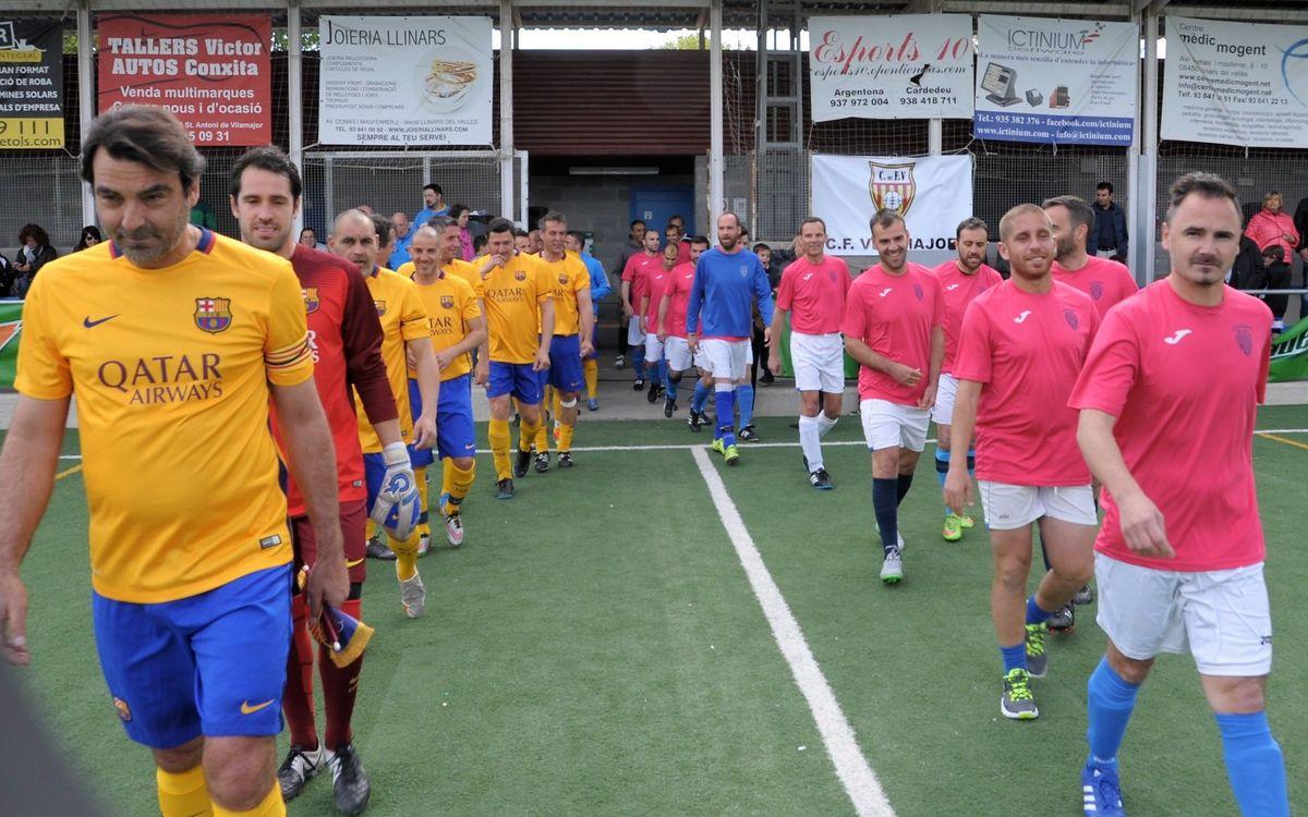 El equipo de la Agrupación Barça Jugadores se impone por 9 a 1 a los veteranos del CF Vilamajor