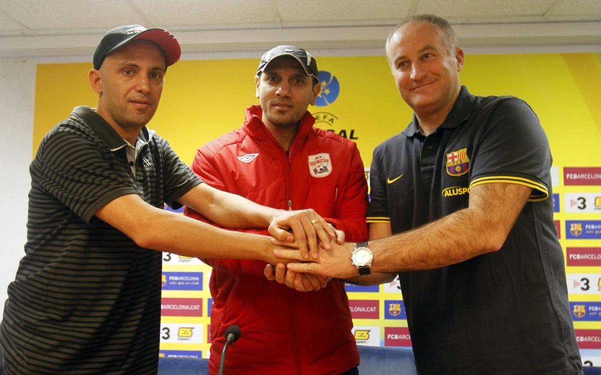 Los entrenadores de la Era Pack y del Araz dan el papel de favorito al FC Barcelona Alusport en el grupo B de la UEFA Futsal Cup