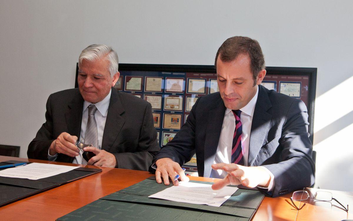 El FC Barcelona ha formalizado hoy la firma del acuerdo con el Comú de Encamp