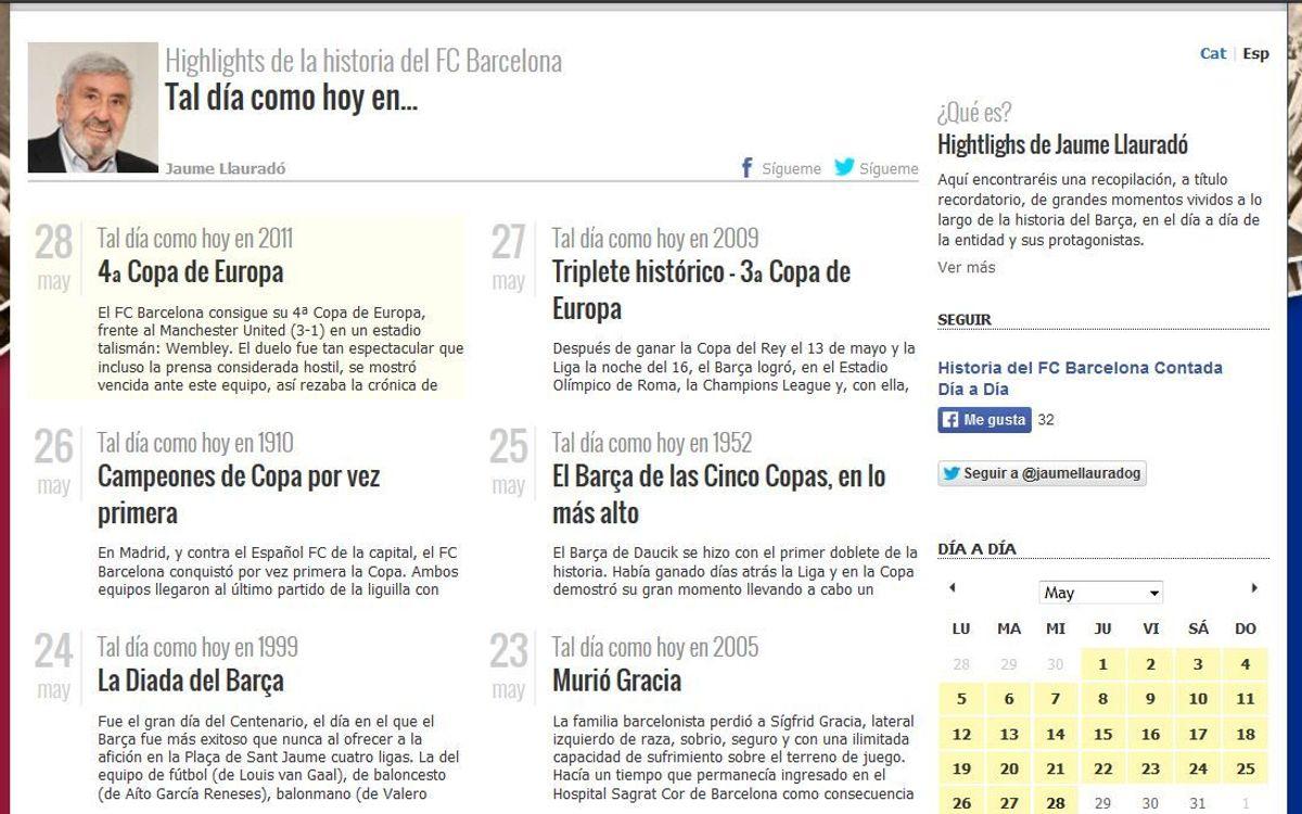 Jaume Llauradó posa en marxa un nou web sobre la història del FC Barcelona